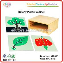 Materiales Montessori - Gabinete de 3 niveles de botánica con 3 puzzles botánicos