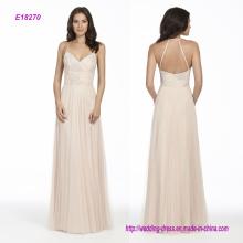 Almond Draped Bodice English Net A-Line Bridesmaid Dress