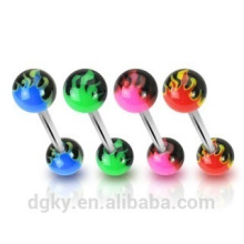UV Flames ball tongue barbell surgical steel