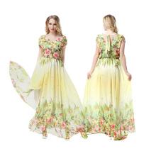 La matière de polyester de la matière première de gamme de la meilleure qualité la femme a imprimé la robe de soirée florale