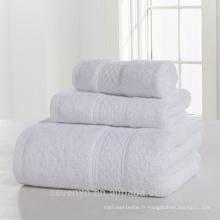 Ensemble de serviettes 100% coton pur blanc de haute qualité