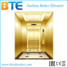 Ce cor dourada e estável elevador de passageiros com sala de máquinas de pequeno porte