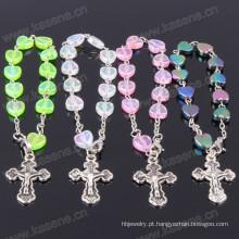 Charme Marfim Coração Plástico Bead Católica Década Rosário