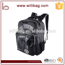 Großhandelsdauerhafte leichte schwarze Segeltuch-Rucksack-Schultasche für Studenten