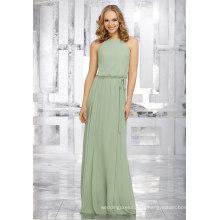 Mousseline de soie vert une ligne robes de demoiselle d'honneur robe de mariée