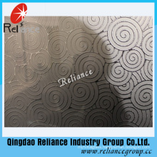 Silver /Golden Etched Glass/ Designed Decorative Glass / Hotel Decoration Glass/ Acid Etched Decorative Glass