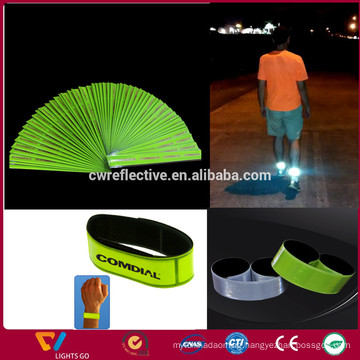 glow in the dark 3m reflective backing pvc led slap bracelet