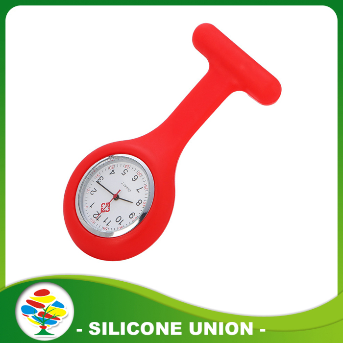 red silicone nurse watch