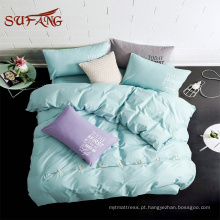 Conjunto de Consolador / 1000TC 100% algodão botão decoração arco-íris cores folha de cama conjunto