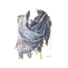 Cashmere Wool Blended Woven Square Shawl Animal Print