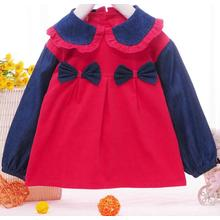 Fashion Cotton Corduroy Smock with Bowknot