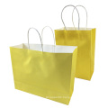 Festival Gift Kraft Bag Bright Yellow Shopping Bags DIY Recyclable Paper Bag With Handles