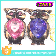 China Wholesale Fancy Vintage Antique Copper Crystal Animal Owl Brooch