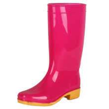 OEM women pvc transparent color horse riding high heel gumboots rain boots