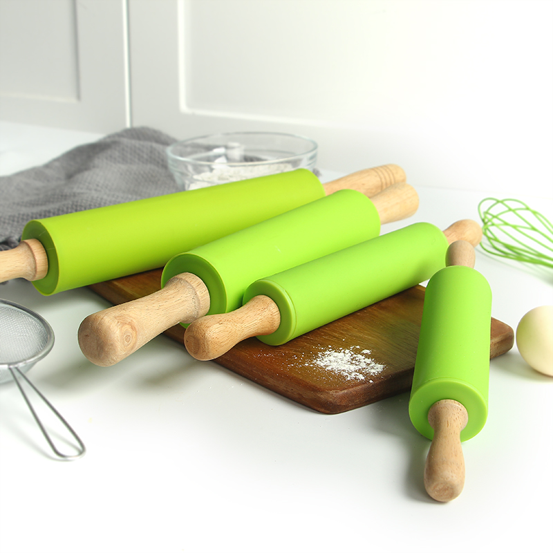Silicone Rolling Pin with Wooden Handles