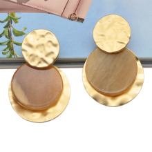 Custom round acrylic circle statement ear jewelry for women plated zinc alloy gold earrings