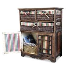 Home Wooden Frame Wicker basket Drawer Storage Unit Cabinet Cupboards Organizer