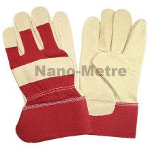 Usines de gants en cuir de sécurité de cochon de NMSAFETY avec le dos de coton rouge