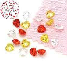 Piedras preciosas sueltas del corazón, piedra del corazón, diamantes de imitación