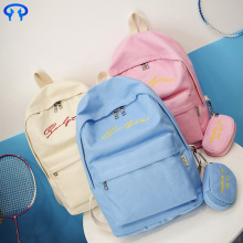 Simple cute lady canvas backpack