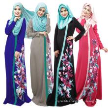 Premium quality polyester women fancy dress printed floral abaya designs 2017 dubai women
