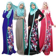 Mulheres de poliéster de qualidade Premium fancy dress impresso abaya floral designs 2017 dubai mulheres