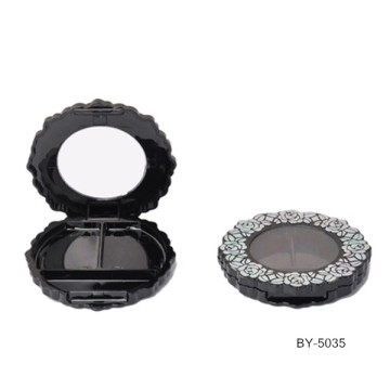 Flower Shape Black Compact Powder Container
