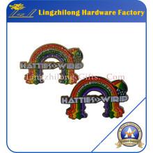 Soft Enamel Alloy Glitter Rainbow Badge