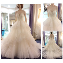 Real Samples Beaded Pearls Layers Ball Gown Long Sleeves Wedding Dress 2016 A203