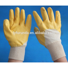 Cotton lined with yellow nitrile coating gloves open back