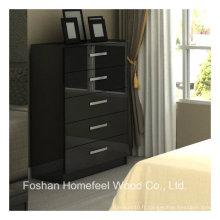 Cabinet de rangement de rangement à double épaisseur noir brillant 5 tiroirs (HC19)