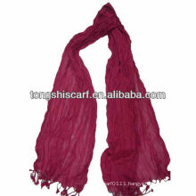 knit long winter crinkle red scarf