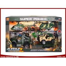 Lernspielzeug DIY Militärspielzeug Sets mit Hubschrauber, Transportflugzeug und Reibung Jeep Spielzeug