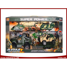 Jouets éducatifs Jeux de jouets militaires bricolage avec l'hélicoptère, l'avion de transport et les jouets de jeep de friction