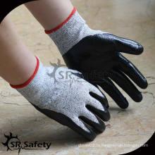 SRSAFETY 13G трикотажный черный нейлон и покрытый HPPE черный нитрил на пальмовой перчатке, антирежущий для безопасной рабочей перчатки