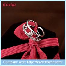 Muslim Ring 925 Splitter cz Ring Mode Kreuz offene Ringe
