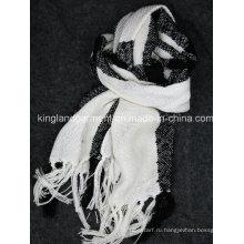 100% акриловая мода зима теплый черный и белый полосатый одетый шарф