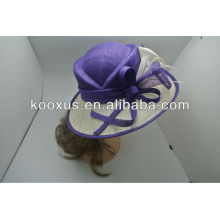 Purple Sinamay organza church hat