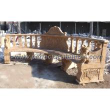 Chaise de jardin antique en marbre en marbre pour ornement de jardin (QTC033)