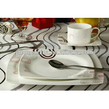 Квадратная форма тонкая кость фарфор завтрак обеденный стол комплект