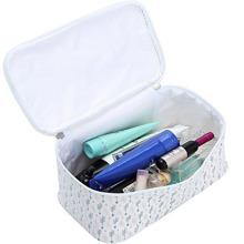 Bolso cosmético ligero con cremallera en blanco y negro