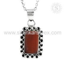 Jóias de pedras preciosas gloriosas Pingente de Jasper vermelho Jóias de prata 925 atacadista