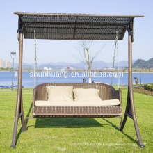 Hot sale metal rattan swing chair 2 seater cushion with canopy garden furniture