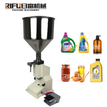 Guangzhou Manual small perfume shampoo sauce beverage honey milk juice water liquid paste glass can bottling filling machine