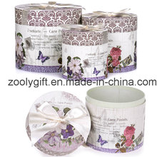 Customized Gift Round Cardboard Box Set with Decorated Ribbon
