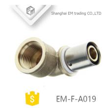 EM-F-A019 Fêmea união cotovelo conector aço inoxidável latão pressione montagem