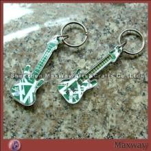 Mini transparent guitar-shaped promotion acrylic/plexiglass keychain/key ring/key holder