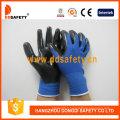 Nylon bleu avec un gant en nitrile noir-Dnn347