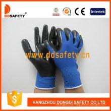 Blaues Nylon mit schwarzem Nitril-Handschuh Dnn347