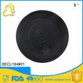 Euro food stardard custom design round black melamine plate